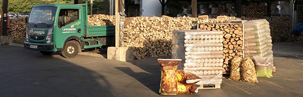 bois bûches réchauffagenet bûches densifiées devant camion de livraison Leverger combustibles dépôt Maisons Alfort paris la Ferté Gaucher